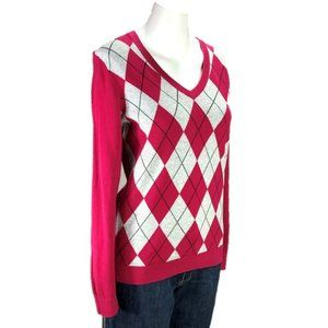 Tommy Hilfiger Pink Argyle Sweater Pima Cotton